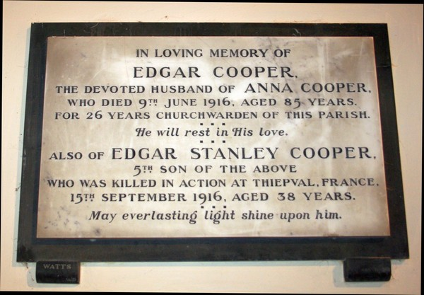 Edgar Stanley Cooper memorial tablet